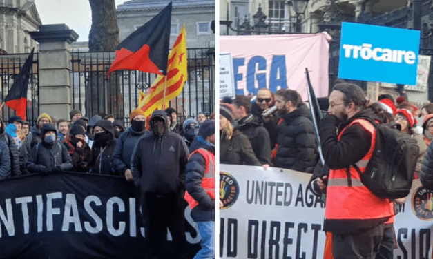 Trócaire stand with masked Antifa against free speech