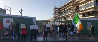 """House the Irish First"": protesters gather outside Dublin housing development"