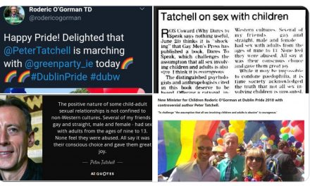 New Minister for Children Roderic O'Gorman at Dublin Pride 2018 with controversial author Peter Tatchell.