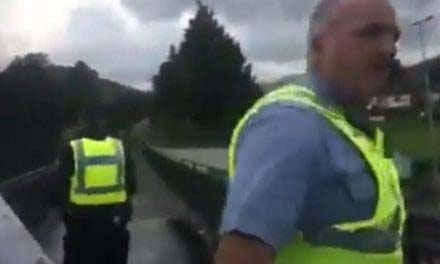 Gemma O'Doherty arrested on livestream at Kilmacanogue Bridge Co Wicklow