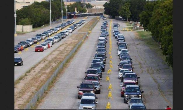 Dramatic Photos: Desperate For Provisions, Thousands Of Cars Line Up At Texas Food Bank