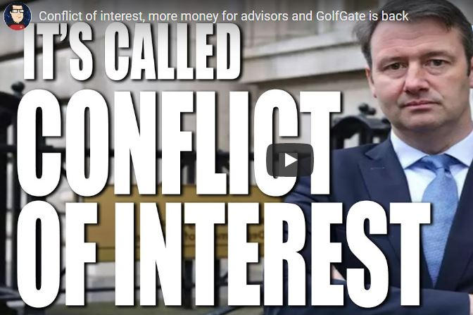 Conflict of interest, more money for advisors and GolfGate is back