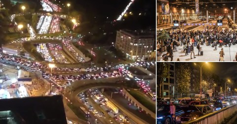 Escape from Paris: City is gridlocked as tens of thousands flee, stations are packed, violent protests break out and shelves are stripped ahead of month-long lockdown that BANS travel