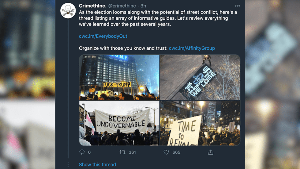 Antifa-affiliated Twitter account shares riot strategy guides in preparation for US election fallout – no matter who wins
