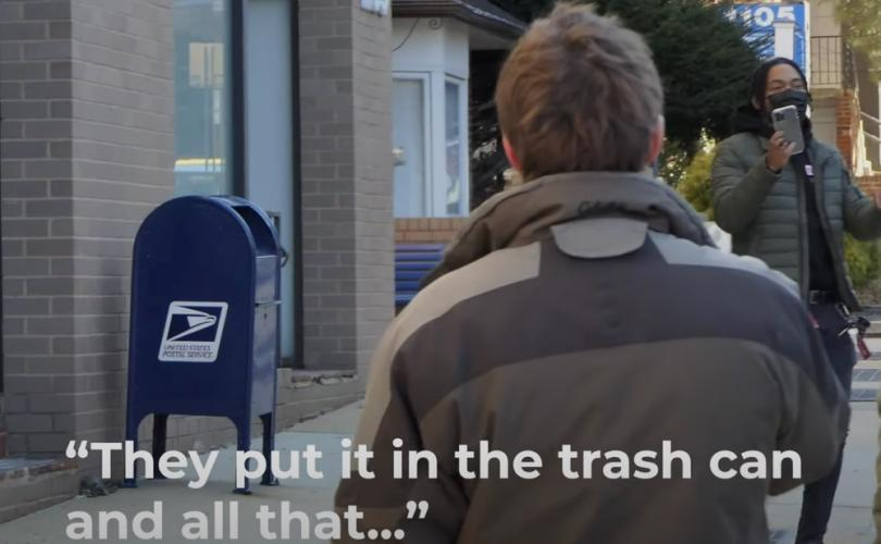 Man leaves abortion center, says 'fetus' is 'in the trash can'