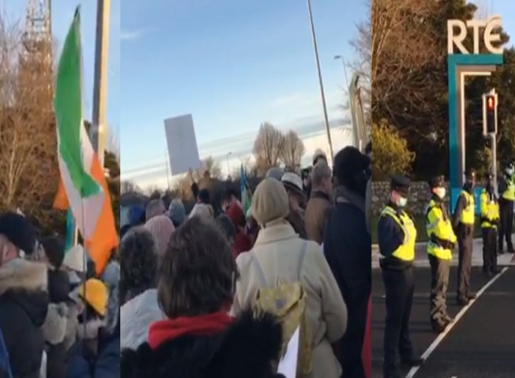 BREAKING: Large group of patriotic Catholics are holding a rally outside RTE demanding an end to the licence fee