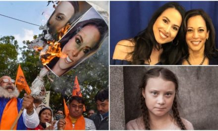 Indian Nationalists Burn Images Of Kamala's Niece For Backing Soros, Greta Thunberg-Sponsored Protests