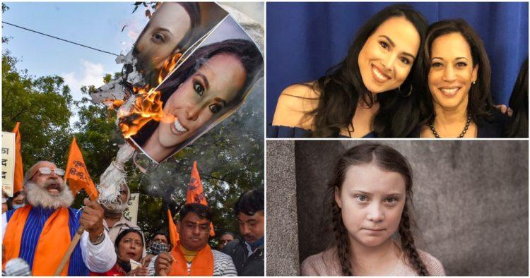 Indian Nationalists Burn Images Of Kamala's Niece For Backing Soros, Greta Thunberg-Sponsored Protests