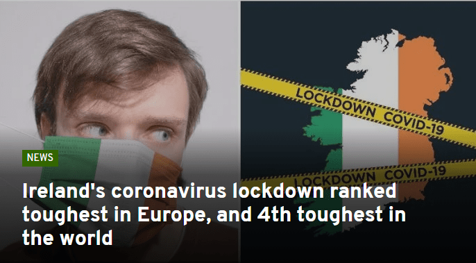 Ireland's coronavirus lockdown ranked toughest in Europe, and 4th toughest in the world