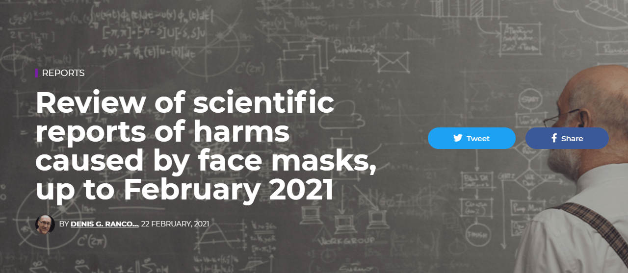 Review of scientific reports of harms caused by face masks, up to February 2021