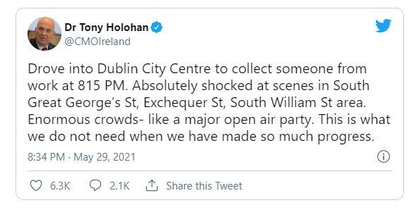 Tony Holohan outraged at Irish public enjoying themselves in the Dublin sunshine