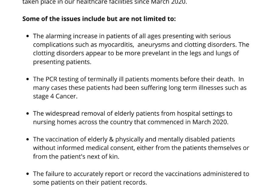 Statement from the INFTO ( Concerned Nurses and Healthcare Workers )